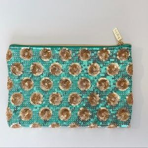 Tarte Makeup Bag  Sequin Turquoise and Gold.